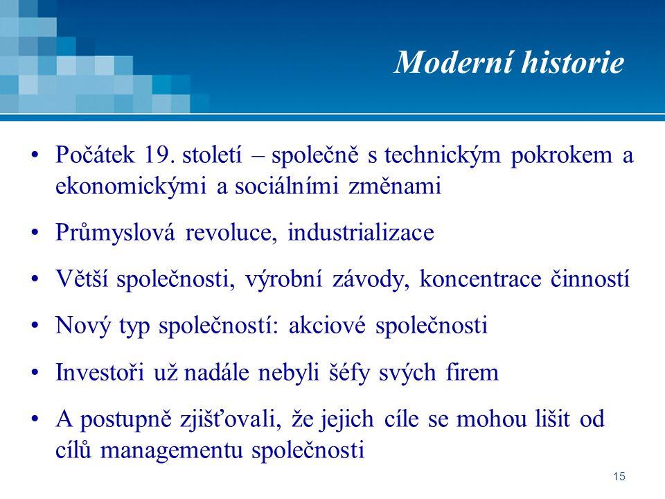 Moderní historie Počátek 19. století – společně s technickým pokrokem a ekonomickými a sociálními změnami.