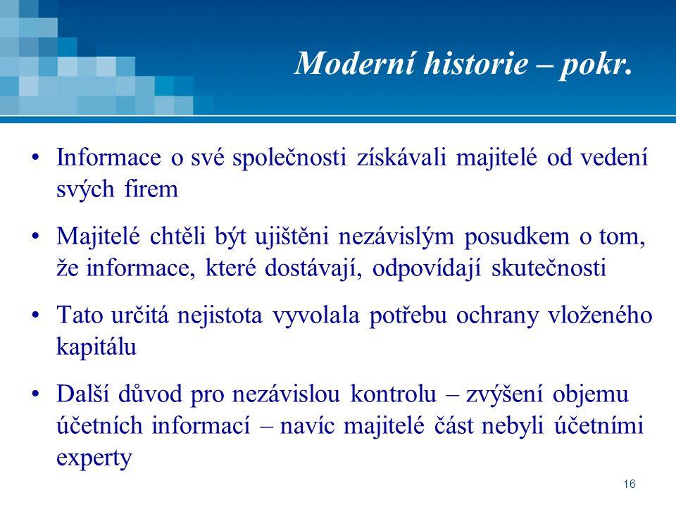 Moderní historie – pokr.