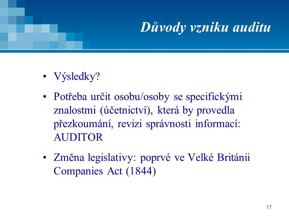 Důvody vzniku auditu Výsledky