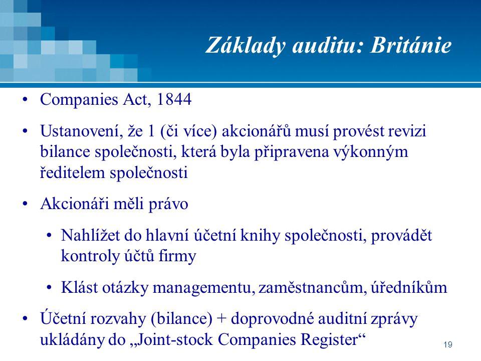 Základy auditu: Británie