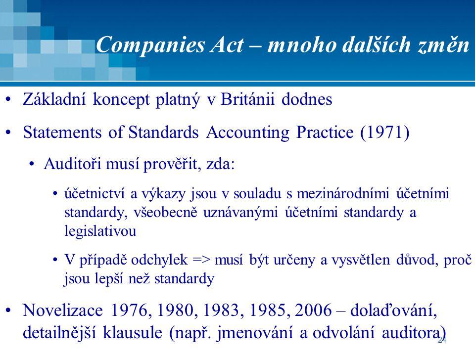 Companies Act – mnoho dalších změn