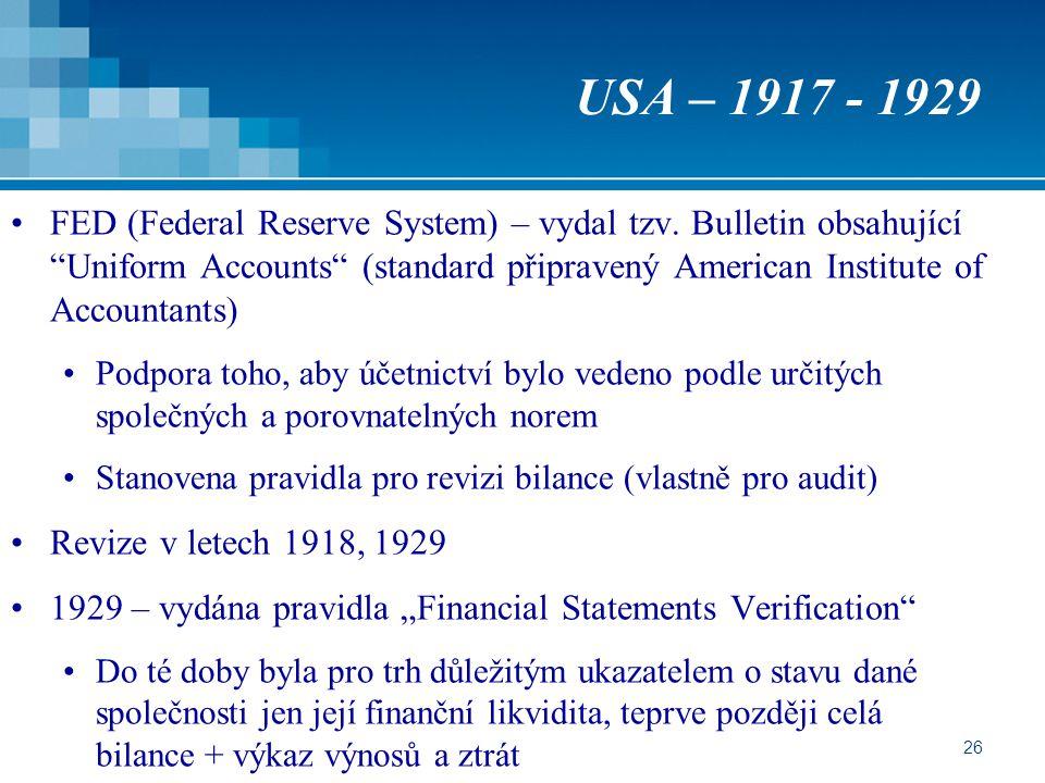 USA – 1917 - 1929