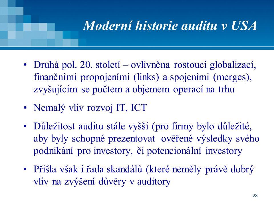 Moderní historie auditu v USA