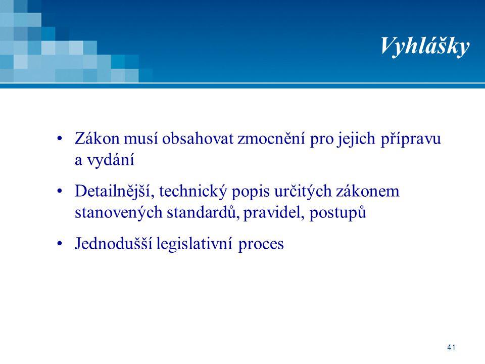 Vyhlášky Zákon musí obsahovat zmocnění pro jejich přípravu a vydání