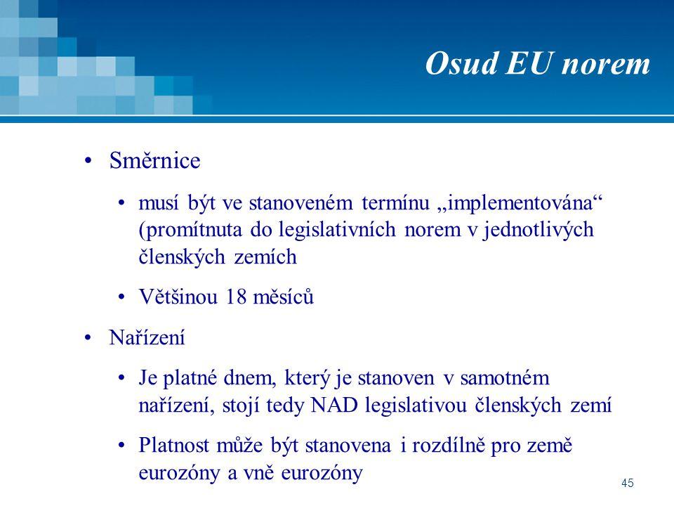 """Osud EU norem Směrnice. musí být ve stanoveném termínu """"implementována (promítnuta do legislativních norem v jednotlivých členských zemích."""