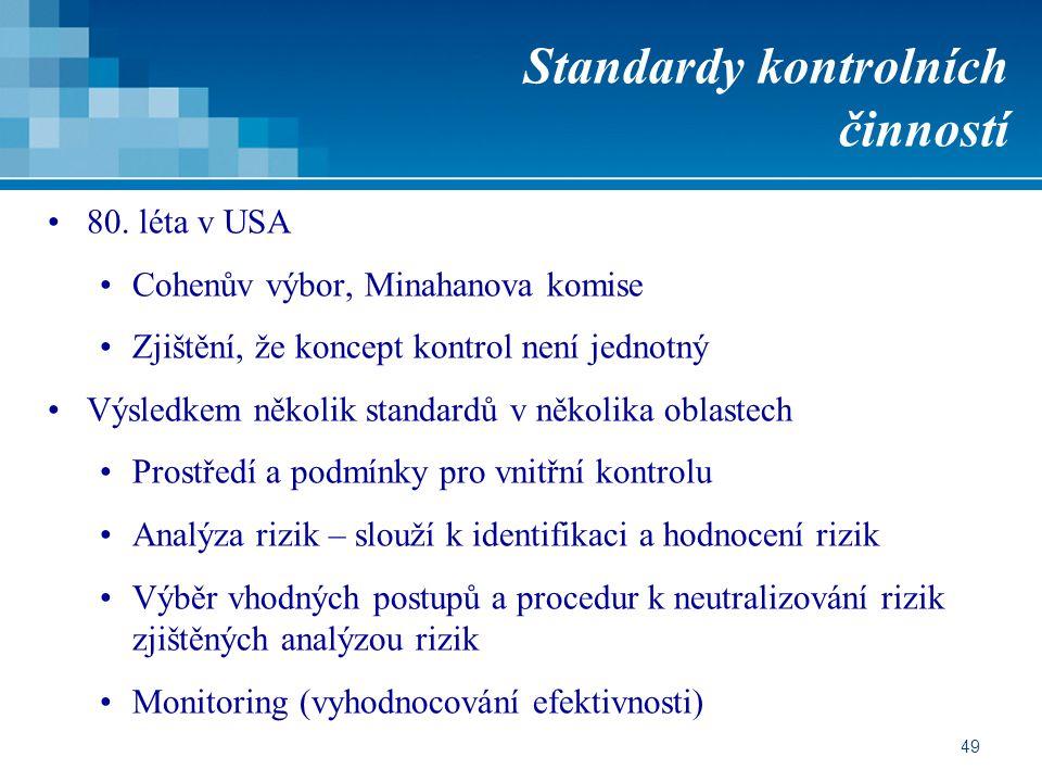 Standardy kontrolních činností