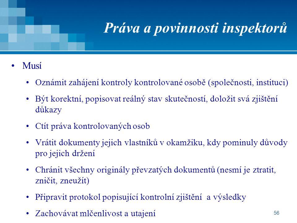 Práva a povinnosti inspektorů