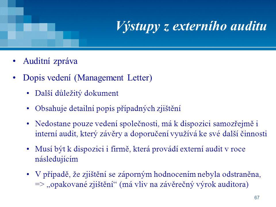 Výstupy z externího auditu