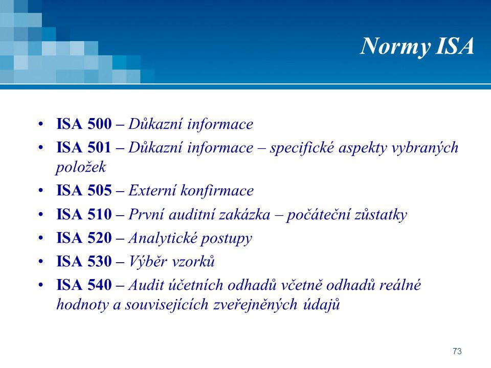 Normy ISA ISA 500 – Důkazní informace