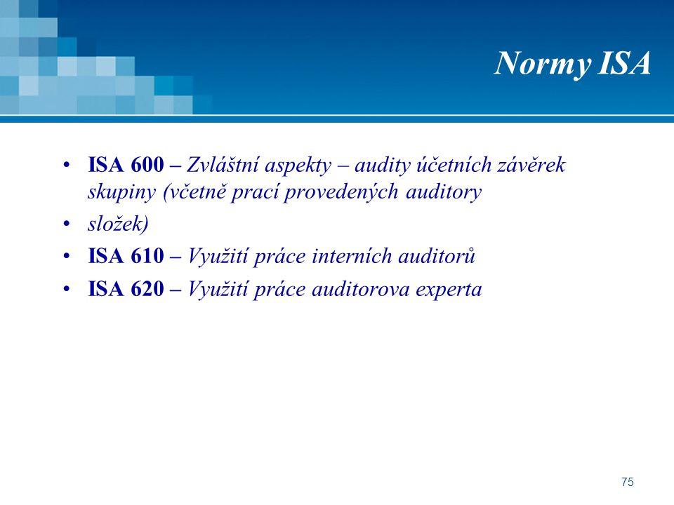Normy ISA ISA 600 – Zvláštní aspekty – audity účetních závěrek skupiny (včetně prací provedených auditory.