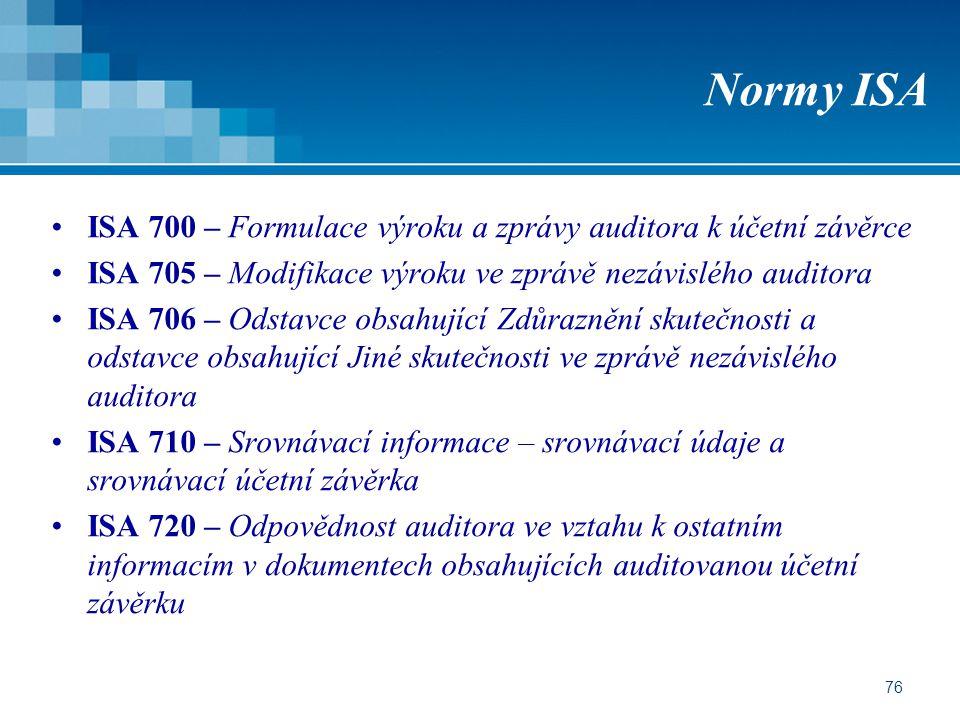 Normy ISA ISA 700 – Formulace výroku a zprávy auditora k účetní závěrce. ISA 705 – Modifikace výroku ve zprávě nezávislého auditora.