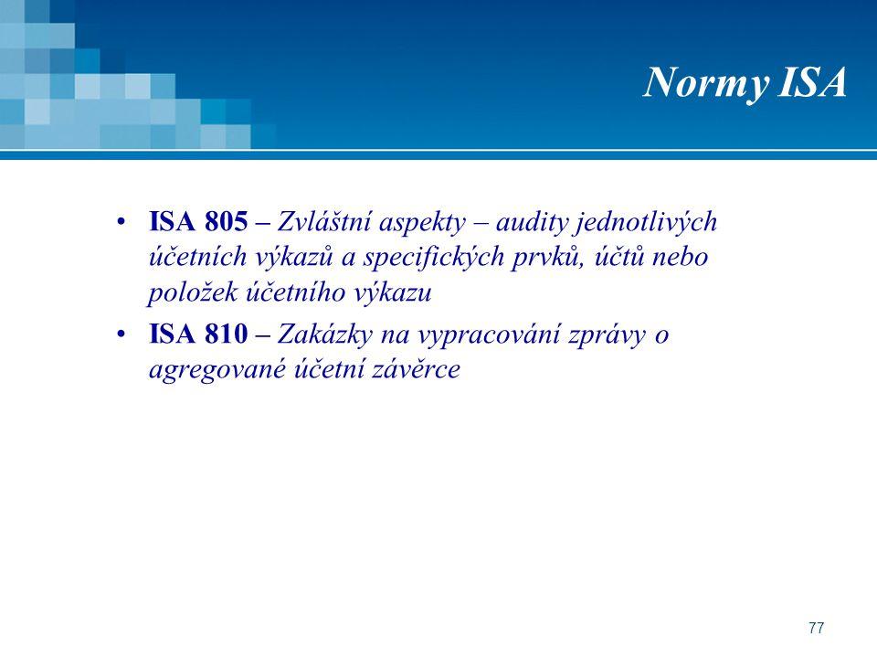 Normy ISA ISA 805 – Zvláštní aspekty – audity jednotlivých účetních výkazů a specifických prvků, účtů nebo položek účetního výkazu.