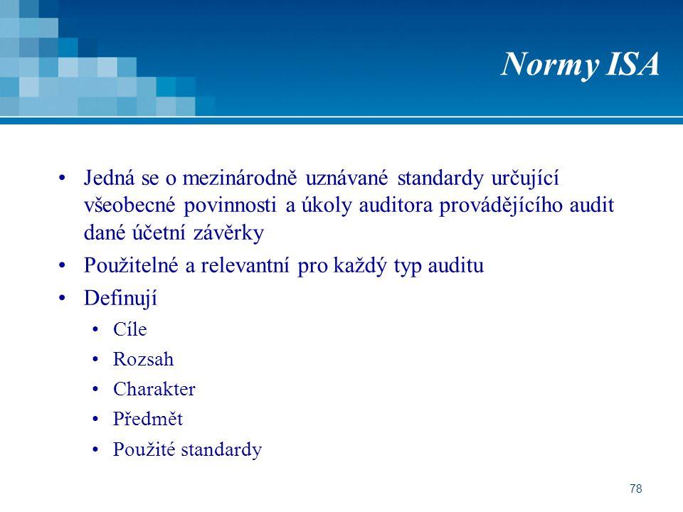 Normy ISA Jedná se o mezinárodně uznávané standardy určující všeobecné povinnosti a úkoly auditora provádějícího audit dané účetní závěrky.