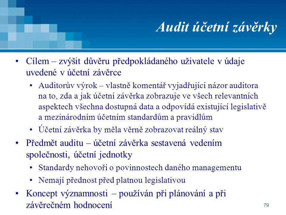 Audit účetní závěrky Cílem – zvýšit důvěru předpokládaného uživatele v údaje uvedené v účetní závěrce.