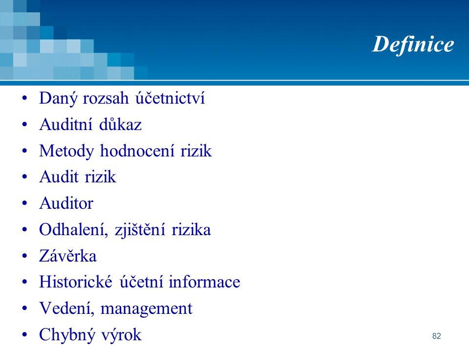 Definice Daný rozsah účetnictví Auditní důkaz Metody hodnocení rizik