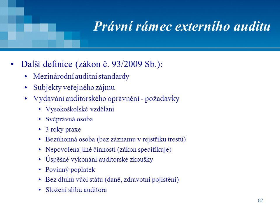 Právní rámec externího auditu