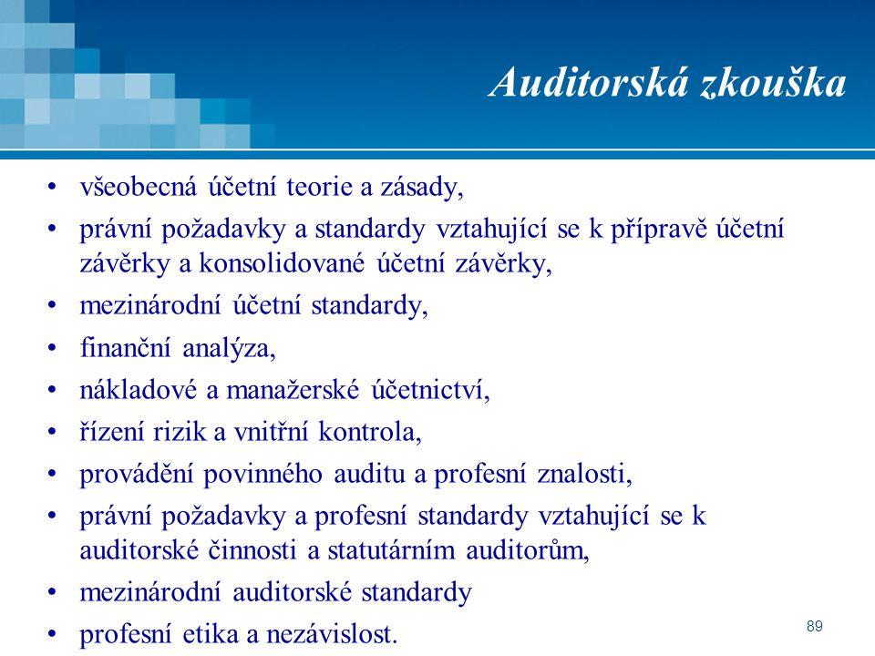 Auditorská zkouška všeobecná účetní teorie a zásady,