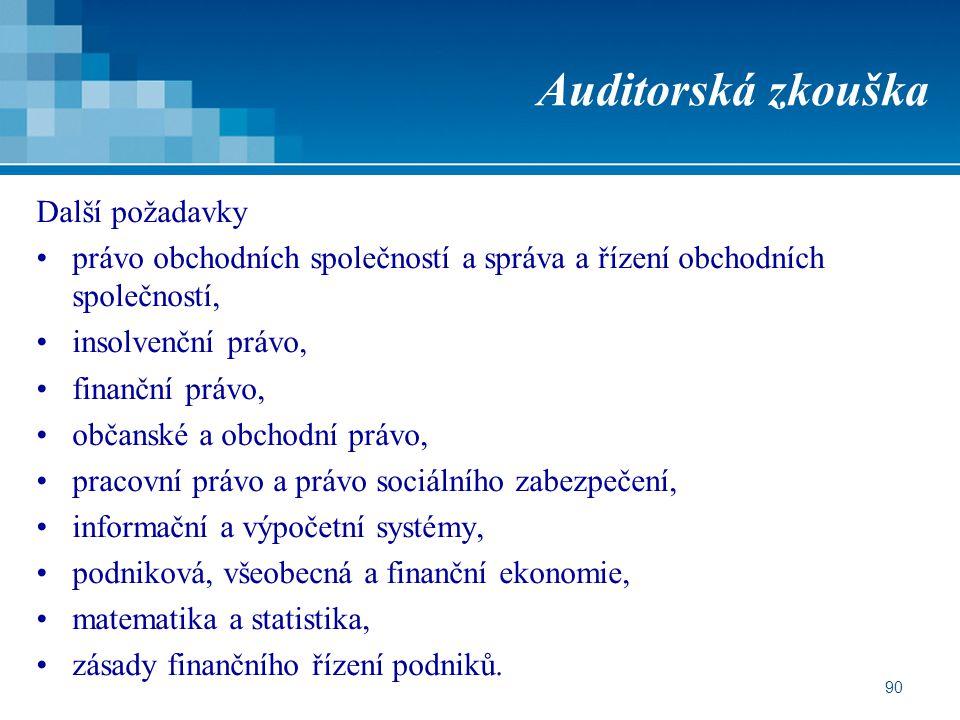 Auditorská zkouška Další požadavky