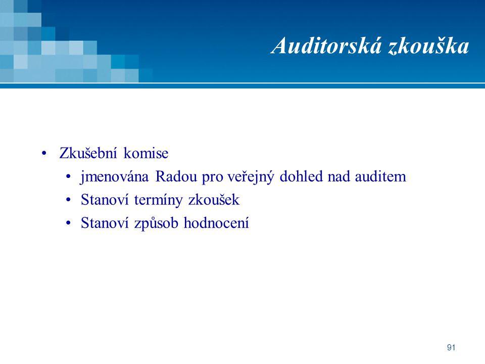 Auditorská zkouška Zkušební komise