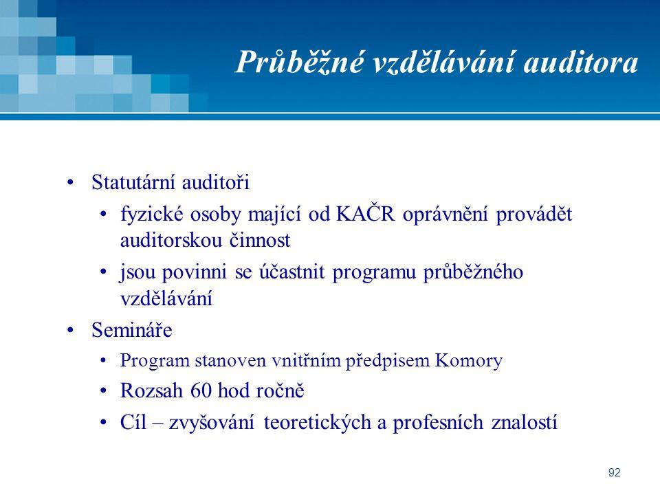 Průběžné vzdělávání auditora