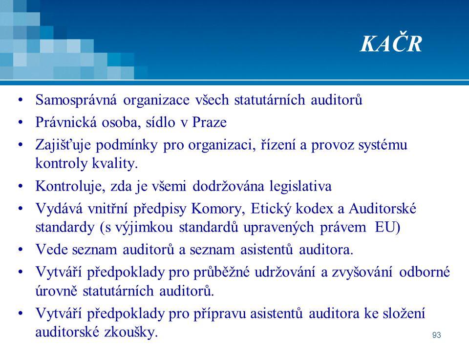 KAČR Samosprávná organizace všech statutárních auditorů