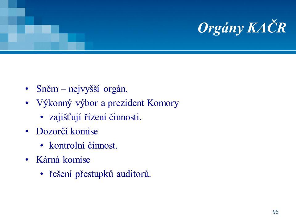 Orgány KAČR Sněm – nejvyšší orgán. Výkonný výbor a prezident Komory