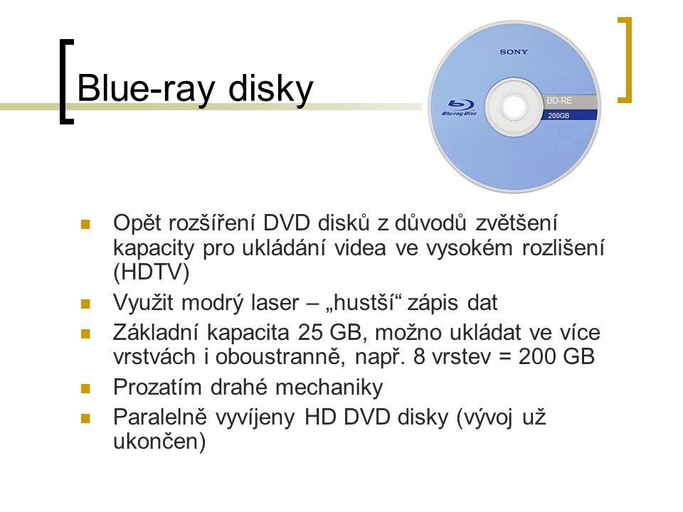 Blue-ray disky Opět rozšíření DVD disků z důvodů zvětšení kapacity pro ukládání videa ve vysokém rozlišení (HDTV)