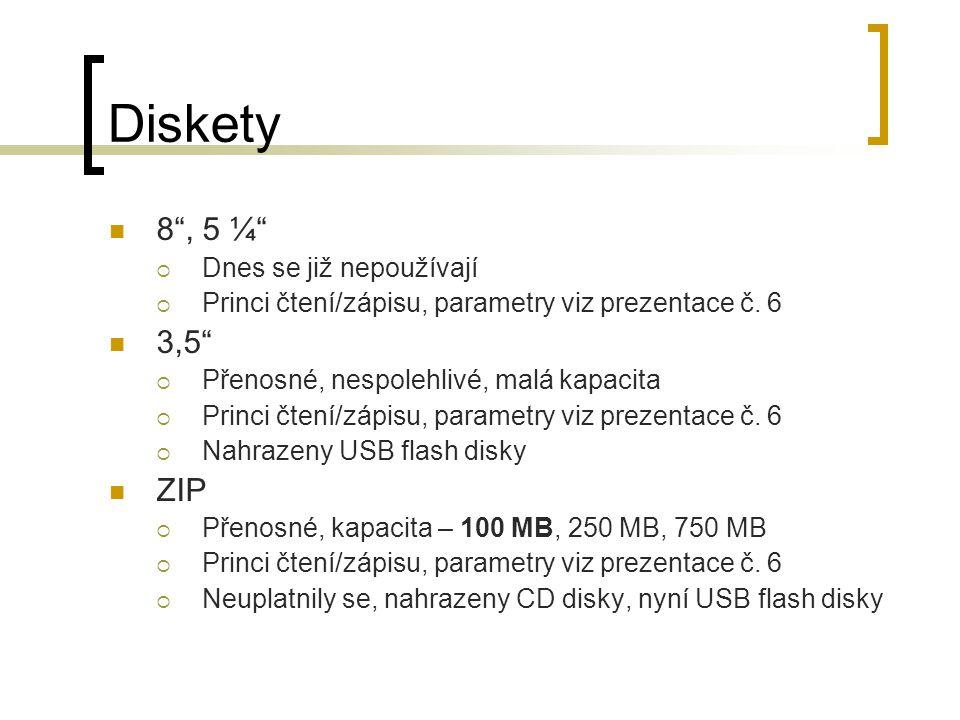 Diskety 8 , 5 ¼ 3,5 ZIP Dnes se již nepoužívají
