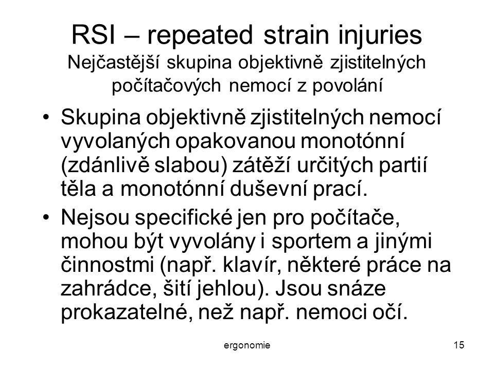 RSI – repeated strain injuries Nejčastější skupina objektivně zjistitelných počítačových nemocí z povolání
