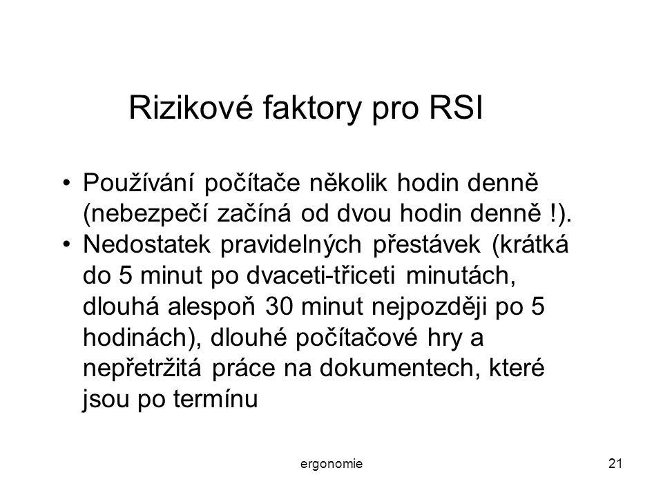 Rizikové faktory pro RSI