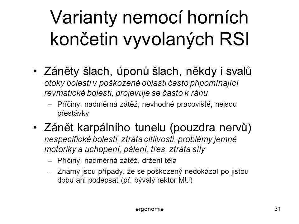 Varianty nemocí horních končetin vyvolaných RSI