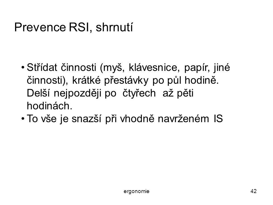 Prevence RSI, shrnutí