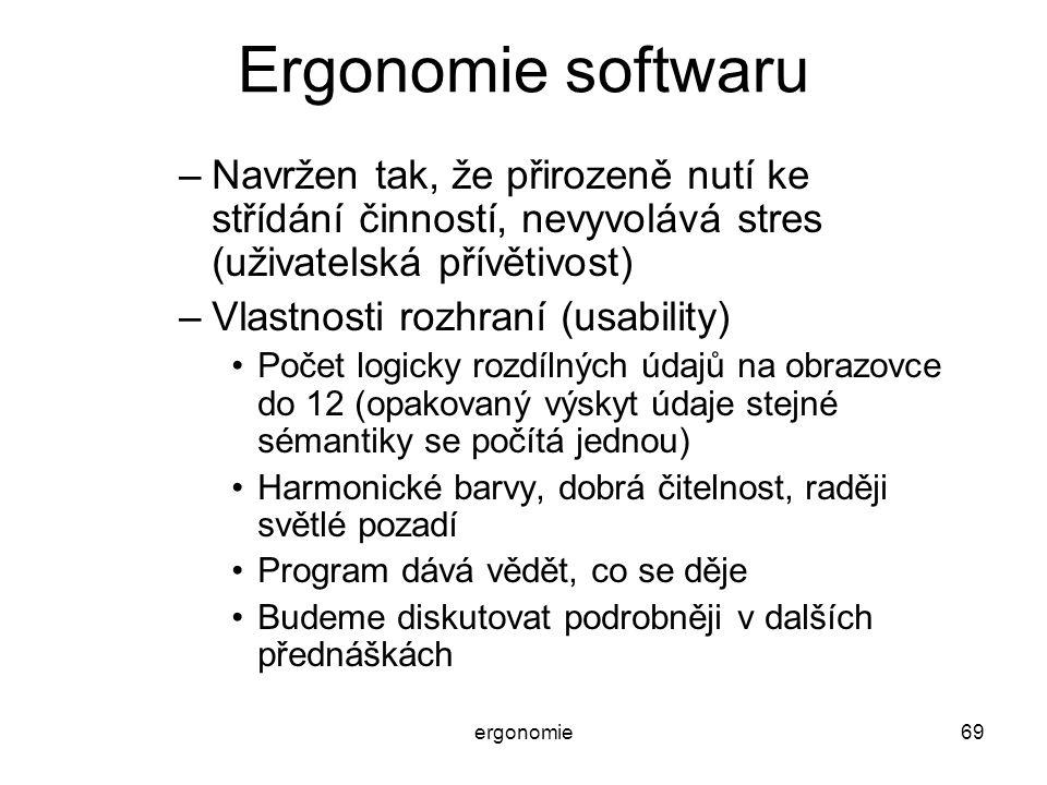 Ergonomie softwaru Navržen tak, že přirozeně nutí ke střídání činností, nevyvolává stres (uživatelská přívětivost)