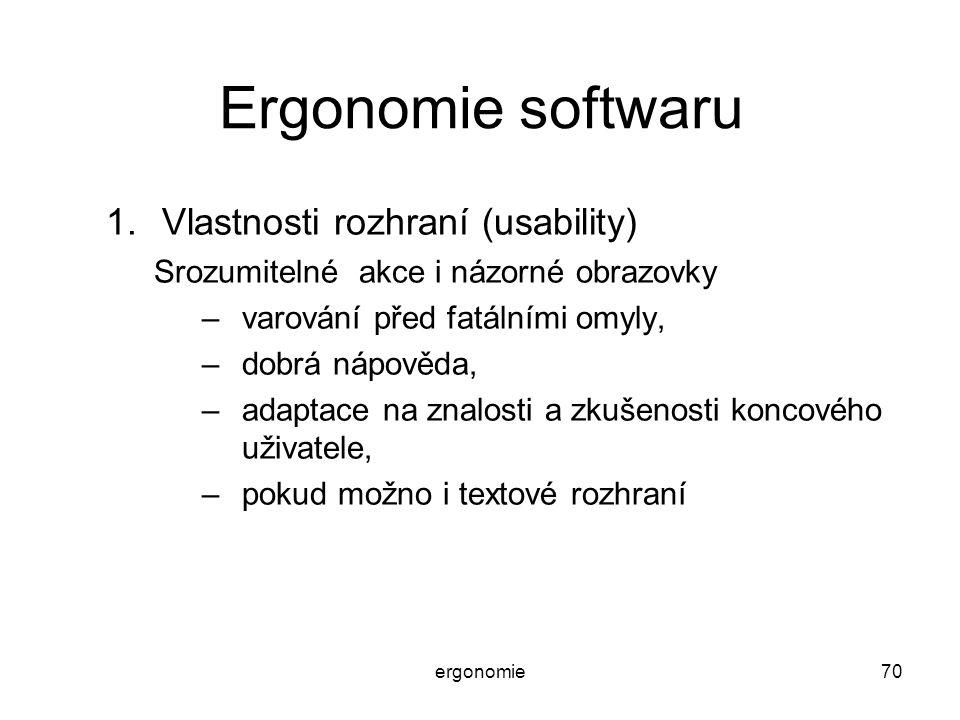 Ergonomie softwaru Vlastnosti rozhraní (usability)