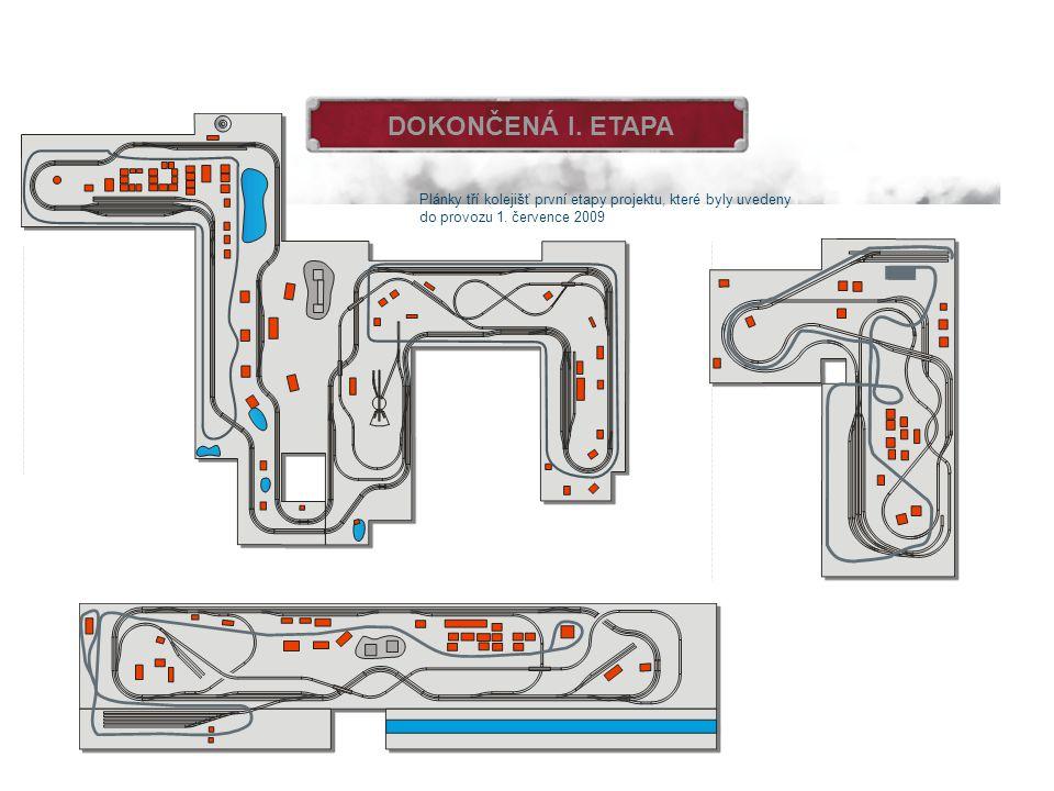 DOKONČENÁ I. ETAPA Plánky tří kolejišť první etapy projektu, které byly uvedeny.