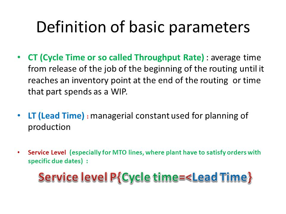 Definition of basic parameters