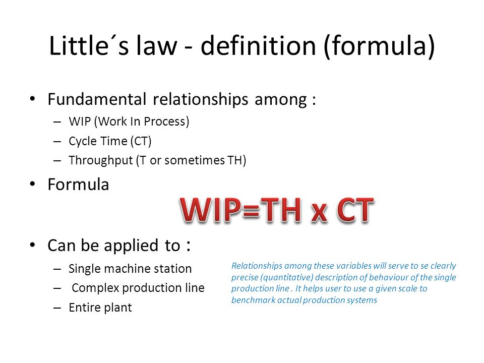 Little´s law - definition (formula)