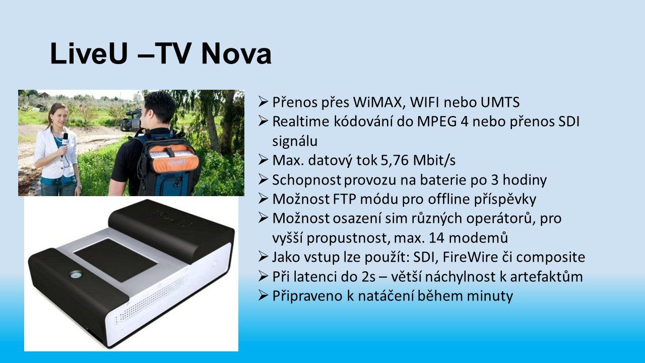 LiveU –TV Nova Přenos přes WiMAX, WIFI nebo UMTS
