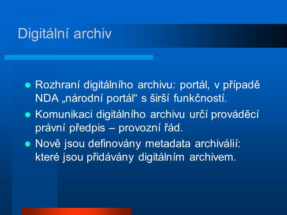 """Digitální archiv Rozhraní digitálního archivu: portál, v případě NDA """"národní portál s širší funkčností."""
