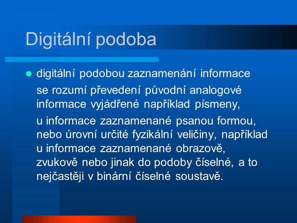 Digitální podoba digitální podobou zaznamenání informace