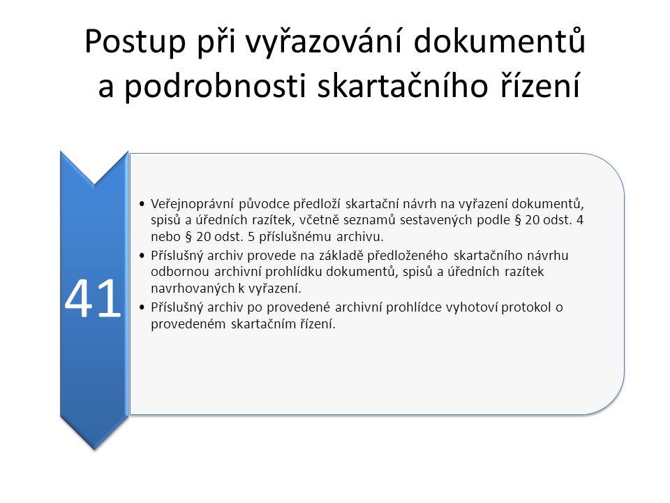 Postup při vyřazování dokumentů a podrobnosti skartačního řízení