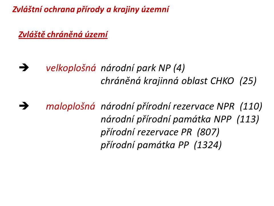 velkoplošná národní park NP (4) chráněná krajinná oblast CHKO (25)