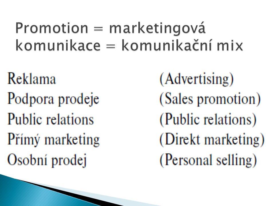 Promotion = marketingová komunikace = komunikační mix