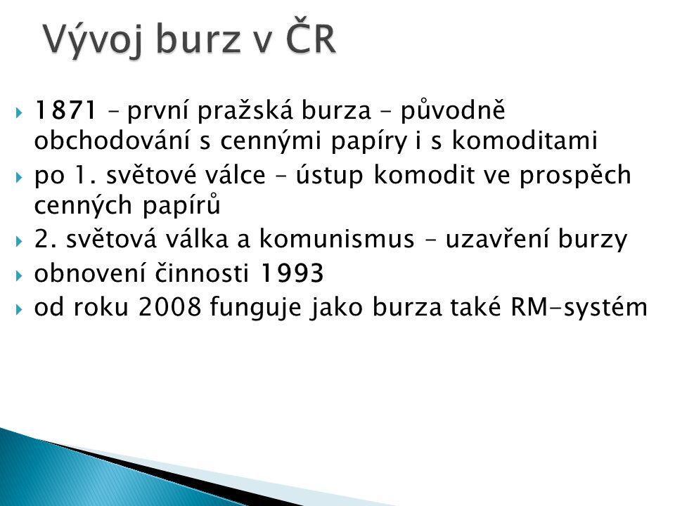 Vývoj burz v ČR 1871 – první pražská burza – původně obchodování s cennými papíry i s komoditami.