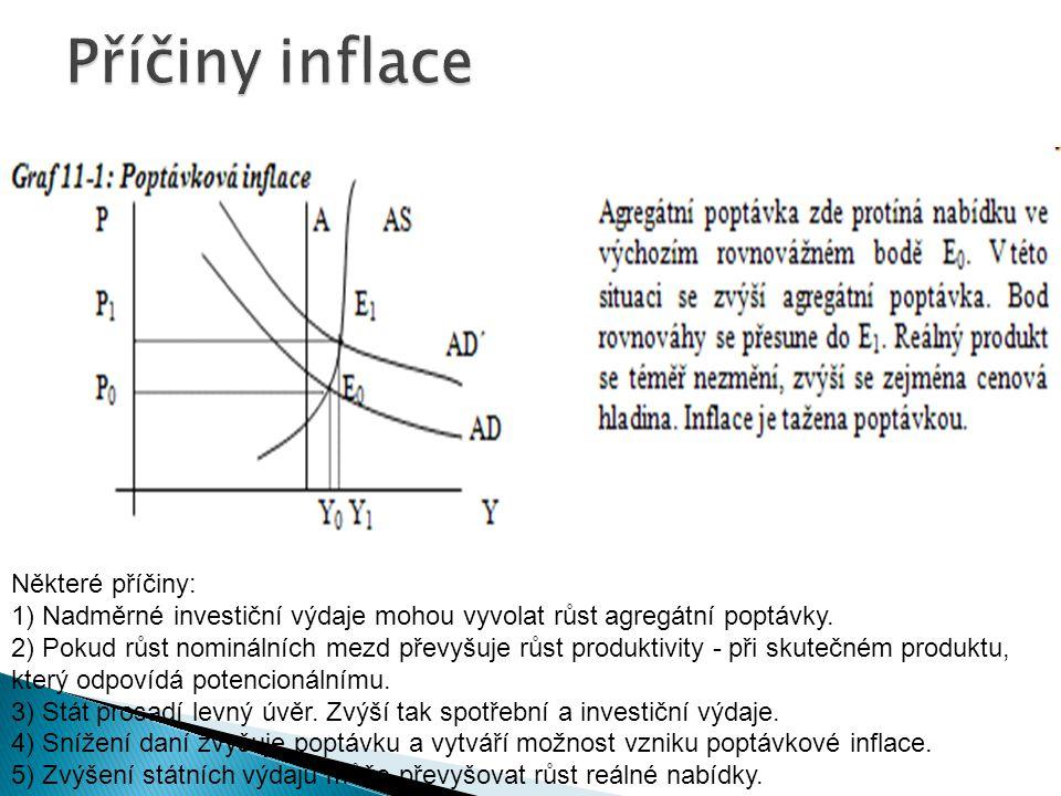 Příčiny inflace Některé příčiny: