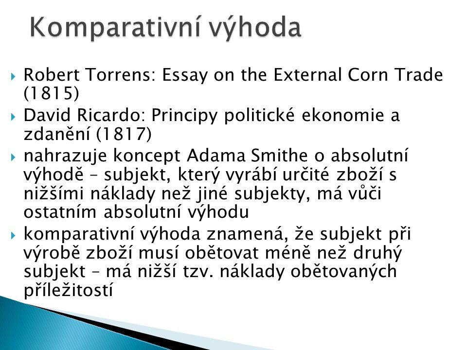 Komparativní výhoda Robert Torrens: Essay on the External Corn Trade (1815) David Ricardo: Principy politické ekonomie a zdanění (1817)