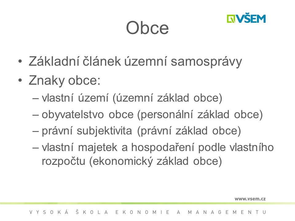 Obce Základní článek územní samosprávy Znaky obce: