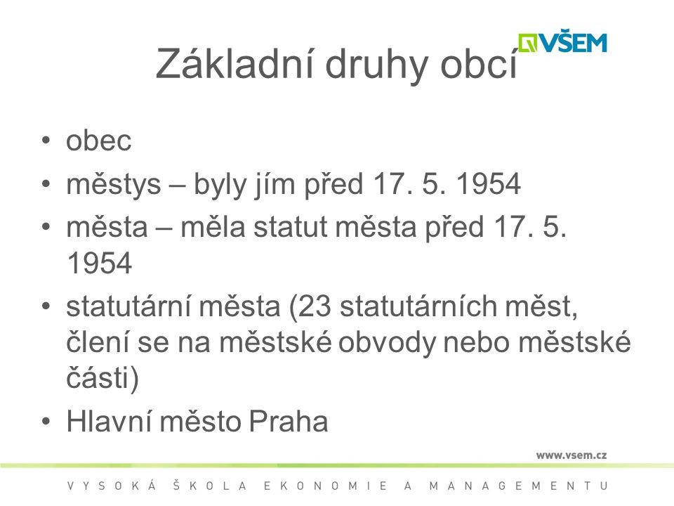 Základní druhy obcí obec městys – byly jím před 17. 5. 1954