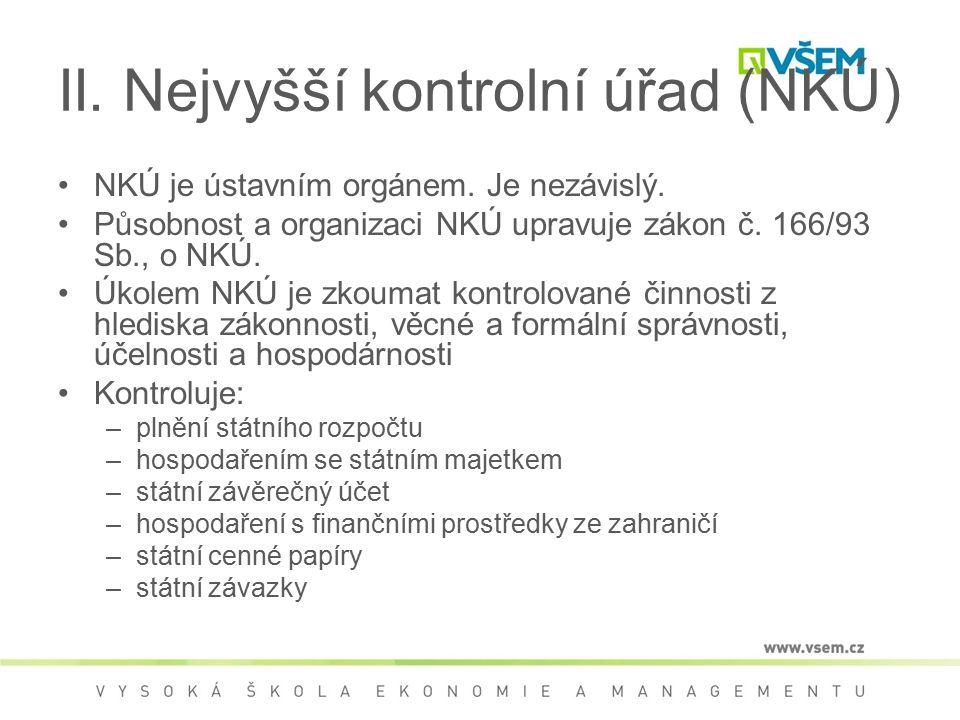 II. Nejvyšší kontrolní úřad (NKÚ)