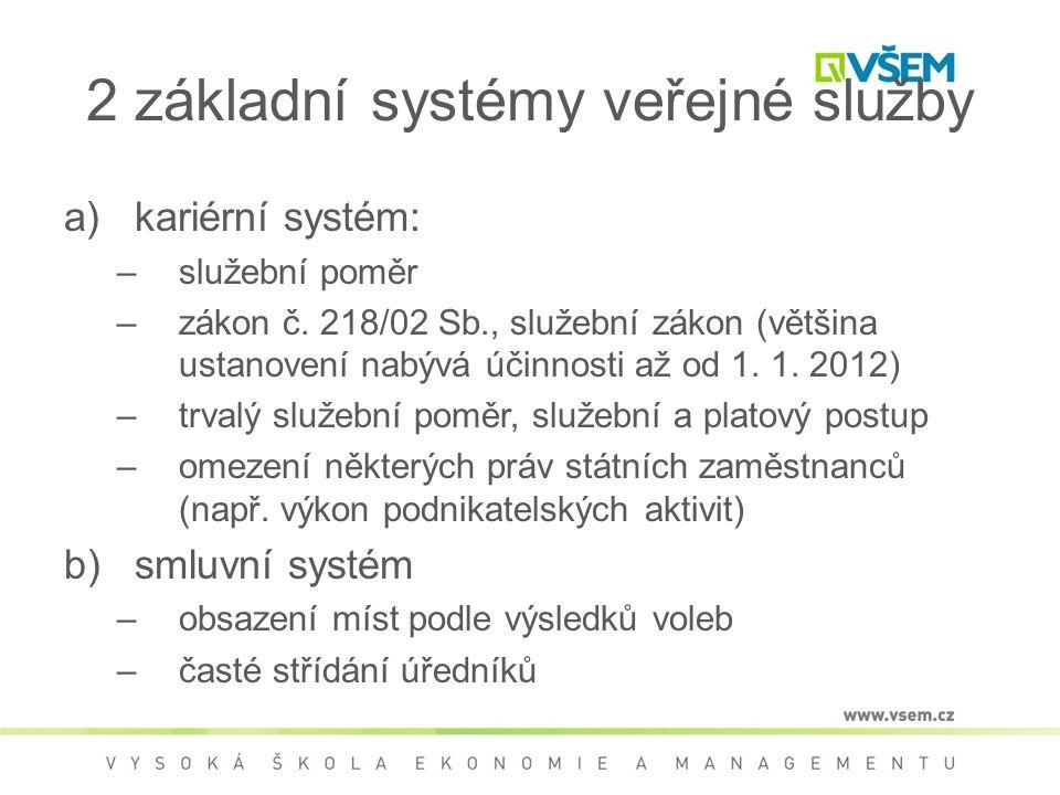 2 základní systémy veřejné služby